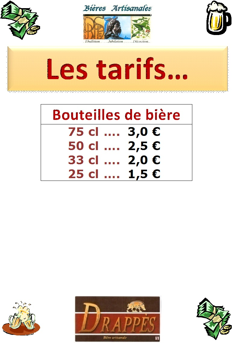 Affiche tarifs